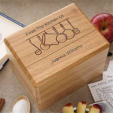 personalized box engraved wooden recipe box and recipe cards from the kitchen of