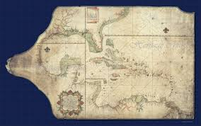 Northern America Map by Spanish Portolan Chart Of The Gulf Of Mexico West Indies And