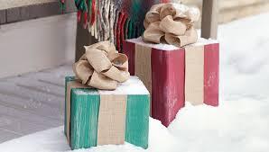wooden present ornaments