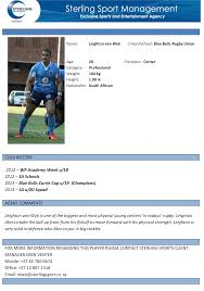 Resume Bio Example Sterling Sport Player Profile Focus U2013 Leighton Van Wyk