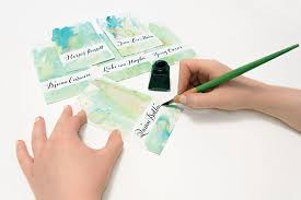 diy wedding place cards diy watercolor wash place cards