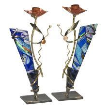 gary rosenthal menorah metal and glass shabbat candlesticks by gary rosenthal moderntribe