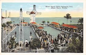 miami beach fishers casino swimming pool postcard c1920 florida