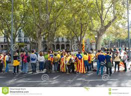 human chain for the catalan independence editorial photography