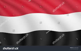 Black And Red Flag Country Realistic Waving Flag Yemen Current National Stock Vector