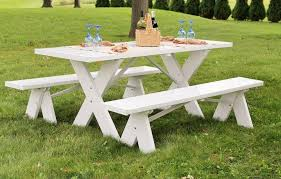 Wooden Picnic Tables With Separate Benches Dura Trel White Plastic Picnic Table With Detached Benches