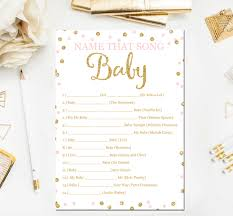 pink and gold baby shower games name that song game baby