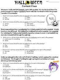 context clues worksheet halloween by deb hanson tpt