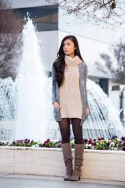sweater dress and suede boots to wear with tights