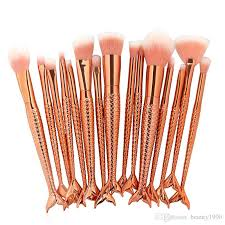 makeup artist tools makeup brushes set gold mermaid handle design blush powder