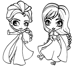 elsa and anna coloring pages to print best chibi elsa and anna coloring pages free 3543 printable