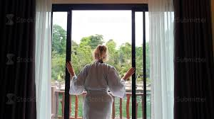 Hotel Drapes Woman In Bathrobe Opening Window Curtains At Hotel Room Youtube
