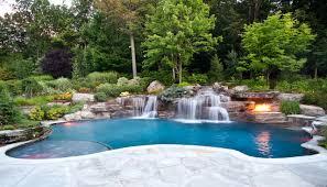 Waterfall Backyard Backyard Swimming Pool Waterfall Design Bergen County Nj