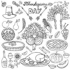 thanksgiving day icons doodle set autumn harvest decor elements