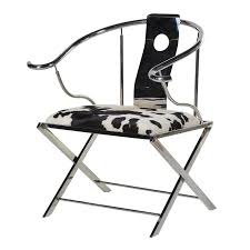 contemporary stainless steel u0026 cowhide chair mulberry moon