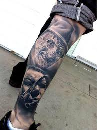 horror tattoo designs on right leg real photo pictures images