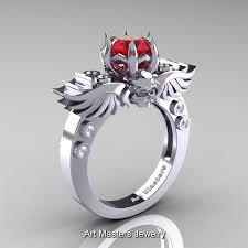 diamond red rings images Art masters classic winged skull 14k white gold 1 0 ct red jpg