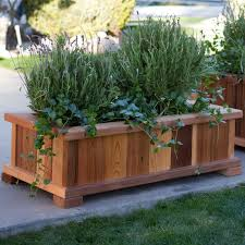 patio planter wood country rectangle cedar wood boise patio planter box hayneedle