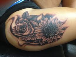 sunflower and rose thigh tattoo creativefan