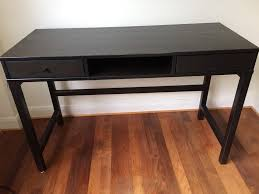 ikea hemnes black brown solid wood desk with 2 drawers in north