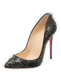 christian louboutin pigallie follies crow patent red sole pump in