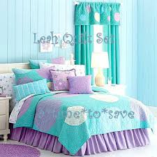 girls bedroom bedding new girl aqua purple twin quilt polka dots bubbles shams skirt