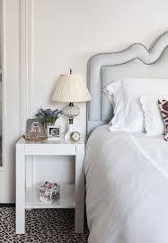 bedroom with leopard rug transitional bedroom