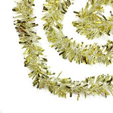 50 festive gold and white thick cut tinsel garland
