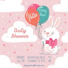 rabbit invitation vintage baby shower invitation with rabbit and balloons vector