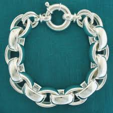 chain link bracelet sterling silver images Sterling silver oval rolo link bracelet 14mm hollow silver chain jpg
