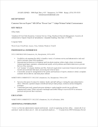 No Experience Resume Samples by Receptionist Resume Resume For Receptionist With No Experience