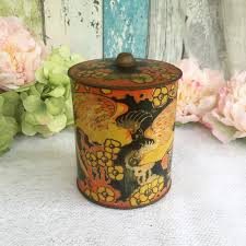 tin kitchen canisters vintage orange bird tin box biscuit barrel embossed parrot macaw