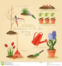 spring gardening to do list card gardener set stock vector