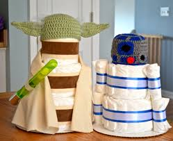 yoda and r2d2 star wars inspired diaper cakes set of 2