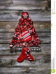 red christmas tree of red balls for decoration stock photo