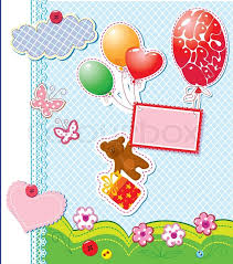 teddy in a balloon gift baby birthday card with teddy and gift box flying with