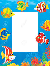 illustration underwater border of colorful tropical fish stock