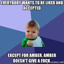 Amber Meme - everybody wants to be liked and accepted except for amber amber