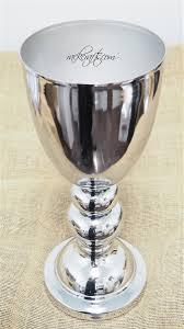 vase home decor silver aluminum goblet vase vessel glass container wedding home decor