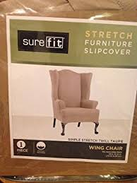 amazon com sure fit cotton duck wing chair slipcover natural