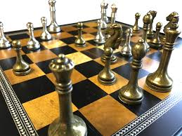 Chess Set Metal Chess Set With Deluxe Wood Board And Storage