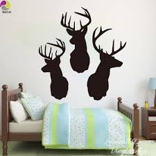 popular large animal wall decals buy cheap three deer head wall sticker bedroom living room large size animal hunt decal