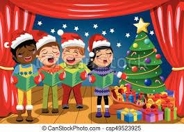 vector illustration of multicultural kids wearing xmas hat singing