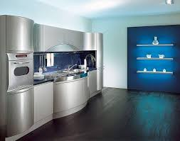 contemporary kitchen design with retro idea and stainless steel