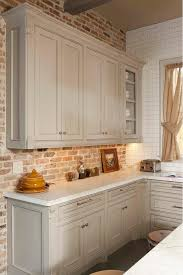 gray kitchen gray kitchen cabinet with brick backsplash wall and