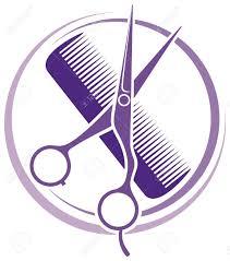 hair salon design haircut or hair salon symbol royalty free