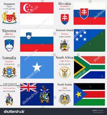 Flags Of The Wrld World Flags Singapore Slovakia Slovenia Solomon Stock Vektorgrafik