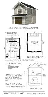 1 car craftsman style garage plans with loft 687 1 16 u0027 x 24 u0027behm