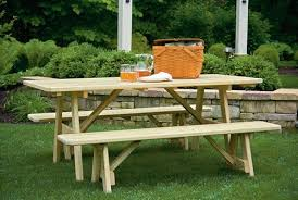 Wooden Picnic Tables With Separate Benches 16 Beautiful Garden Picnic Bench Tables And Designs Planted Well
