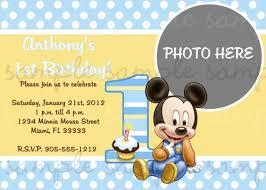 Mickey Mouse 1st Birthday Card Mickey Mouse 1st Birthday Invitation Lovelifeinvites On Artfire